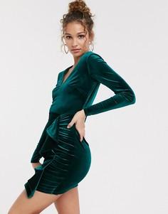 Зеленое бархатное платье с оборками Miss Selfridge-Зеленый