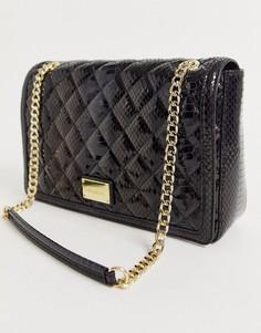 Блестящая стеганая сумка на плечо с отделкой под кожу змеи и цепочкой Love Moschino-Черный