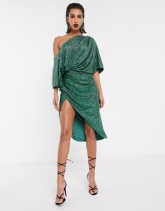 Асимметричное платье миди с пайетками ASOS EDITION-Зеленый