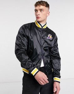 Черная атласная двусторонняя спортивная куртка Nike Basketball LA Lakers-Черный