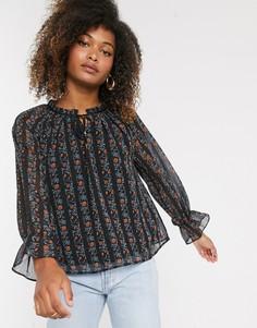 Свободная блузка в полоску с цветочным принтом Y.A.S-Серый