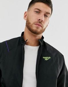 Черная спортивная куртка с векторным принтом на спине Reebok-Черный
