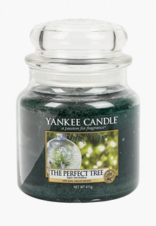 Свеча ароматическая Yankee Candle средняя в стеклянной банке Идеальная ель The Perfect Tree 411 гр / 65-90 часов