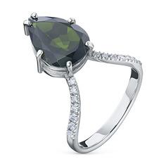 Кольцо из белого золота с хромдиопсидом и бриллиантами э0915к_1019428 ЭПЛ Якутские Бриллианты