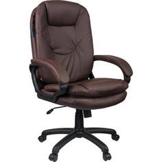 Кресло руководителя Helmi HL-E68 Reputation экокожа коричневая мягкий подлокотник
