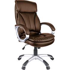 Кресло руководителя Helmi HL-E07 Invest экокожа коричневая механизм качания