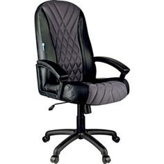 Кресло руководителя Helmi HL-E85 Graphite ткань TW серая экокожа черная мягкий подлокотник