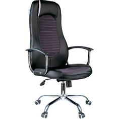 Кресло руководителя Helmi HL-E93 Fitness экокожа черная/ткань S серая хром механизм качания Люкс