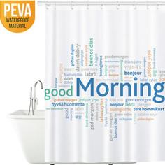 Штора для ванной комнаты Tatkraft GOOD MORNING, водонепроницаемый материал PEVA, магниты-утяжелители для лучшей фиксации, 12 шт овальных колец (18174)