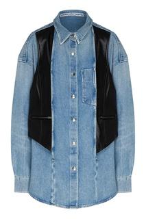 Джинсовая рубашка с кожаным жилетом Alexander Wang