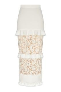 Молочно-белая юбка с кружевом Ulyana Sergeenko