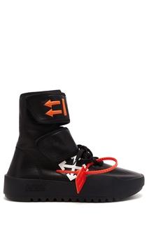 Высокие черные кроссовки Off White
