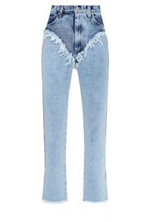 Комбинированные джинсы с бахромой Natasha Zinko