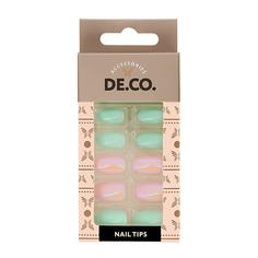Набор накладных ногтей DE.CO. FREEZE mint icecream 24 шт+ клеевые стикеры 24 шт Deco