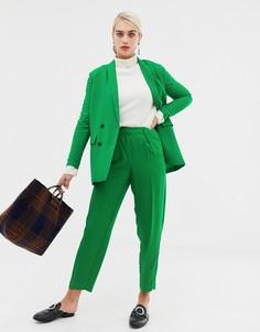 Строгие комбинируемые брюки-морковки Selected Jolly-Зеленый