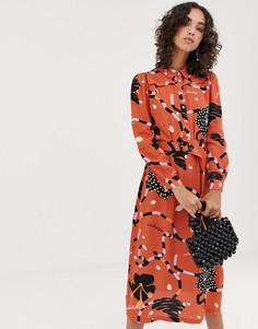 Платье-рубашка макси с абстрактным принтом Selected Femme-Мульти