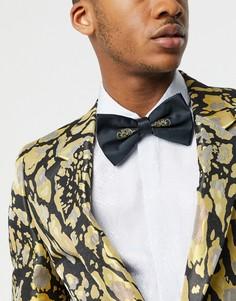 Черный атласный галстук-бабочка с золотистой отделкой ASOS DESIGN