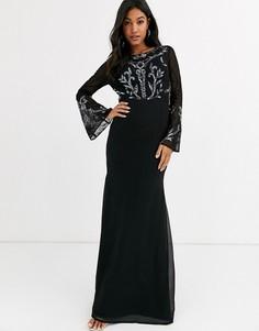 Платье макси с длинными рукавами и отделкой Maya-Черный