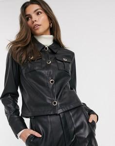 Черная рубашка из искусственной кожи в стиле милитари River Island-Черный