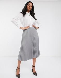 Светло-серая плиссированная юбка миди Vero Moda-Коричневый