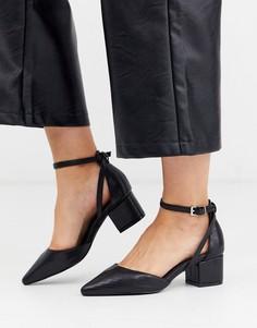 Черные туфли на среднем каблуке с эффектом змеиной кожи RAID Wide Fit Hazy-Черный
