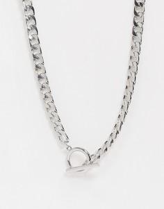 Серебристое ожерелье-цепочка с крупными звеньями ASOS DESIGN-Серебряный