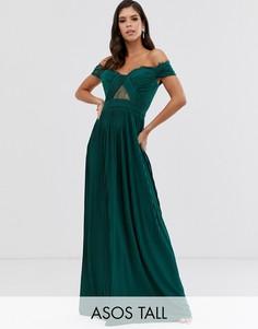 Плиссированное платье макси с кружевной отделкой ASOS DESIGN Tall-Зеленый