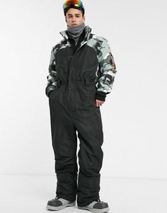 Горнолыжный костюм с камуфляжной вставкой ASOS 4505-Черный