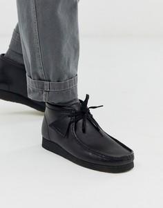 Черные кожаные ботинки Clarks Originals wallabee-Черный