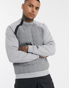 Серый свитшот с асимметричной молнией и стеганой вставкой Nike