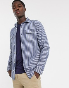 Синяя рубашка в полоску с двумя карманами Selected Homme-Синий