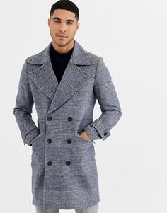 Пальто в стиле милитари с узором в клетку Gianni Feraud-Синий