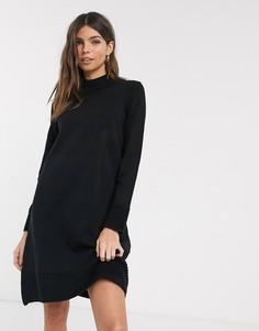 Трикотажное платье в рубчик с высоким воротом Esprit-Черный