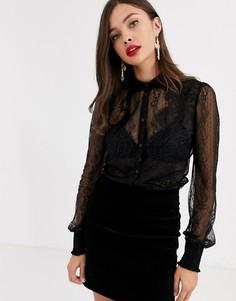 Черная рубашка с кружевной отделкой Morgan-Черный