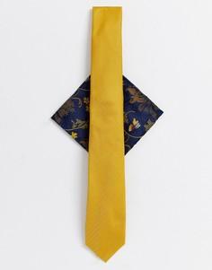 Комплект с галстуком горчичного цвета и темно-синим платком для пиджака Burton Menswear-Желтый