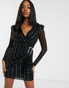Черное структурированное платье-смокинг с отделкой металлик и поясом Forever U-Черный