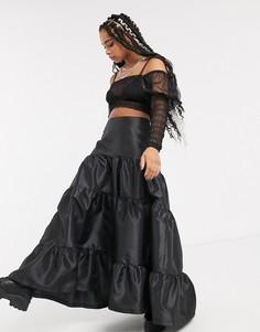Ярусная юбка макси из тафты Milk It vintage-Черный