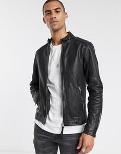 Черная кожаная куртка узкого кроя на молнии AllSaints-Черный