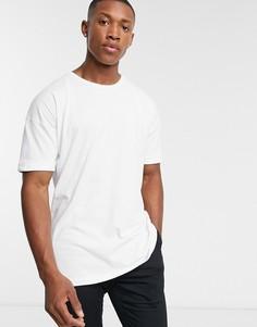Белая oversize-футболка с заниженной линией плеч Selected Homme-Зеленый