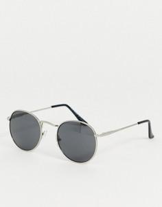Круглые солнцезащитные очки в серебристой оправе AJ Morgan-Серебряный