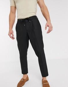 Черные узкие строгие брюки до щиколотки с затягивающимся шнурком на поясе Selected Homme-Черный
