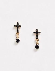 Золотистые серьги-гвоздики в виде крестов Topman-Золотой