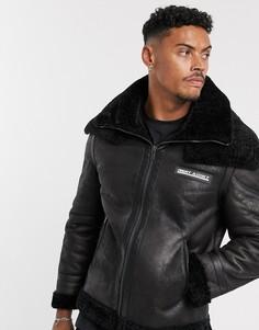 Куртка из искусственной замши и меха Night Addict-Черный