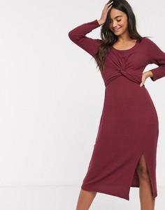 Теплое платье миди с запахом Hollister-Красный