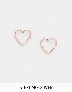 Серьги-гвоздики с сердечками цвета розового золота Kingsley Ryan-Золотой