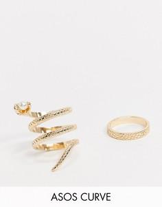 2 золотистых кольца (в виде змеи с искусственным жемчугом/с отделкой под змеиную кожу) ASOS DESIGN Curve-Золотой