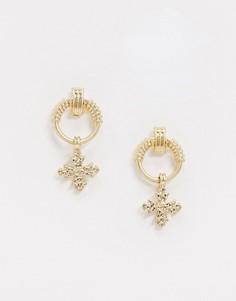 Серьги-кольца с подвесками-крестиками Topman-Золотой