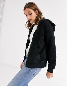 Куртка с плюшевой текстурой, молнией и капюшоном Only Caroline-Черный