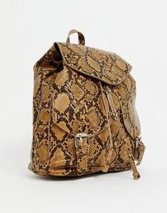 Рюкзак со змеиным принтом Pieces-Коричневый