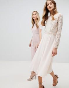Платье миди с кружевным топом и длинными рукавами Amelia Rose-Розовый